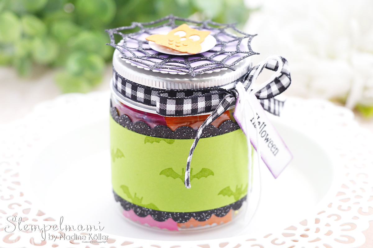 Stampin Up Mini Marmeladenglas als Goodie zu Halloween Frightfully Cute Stempelmami 5