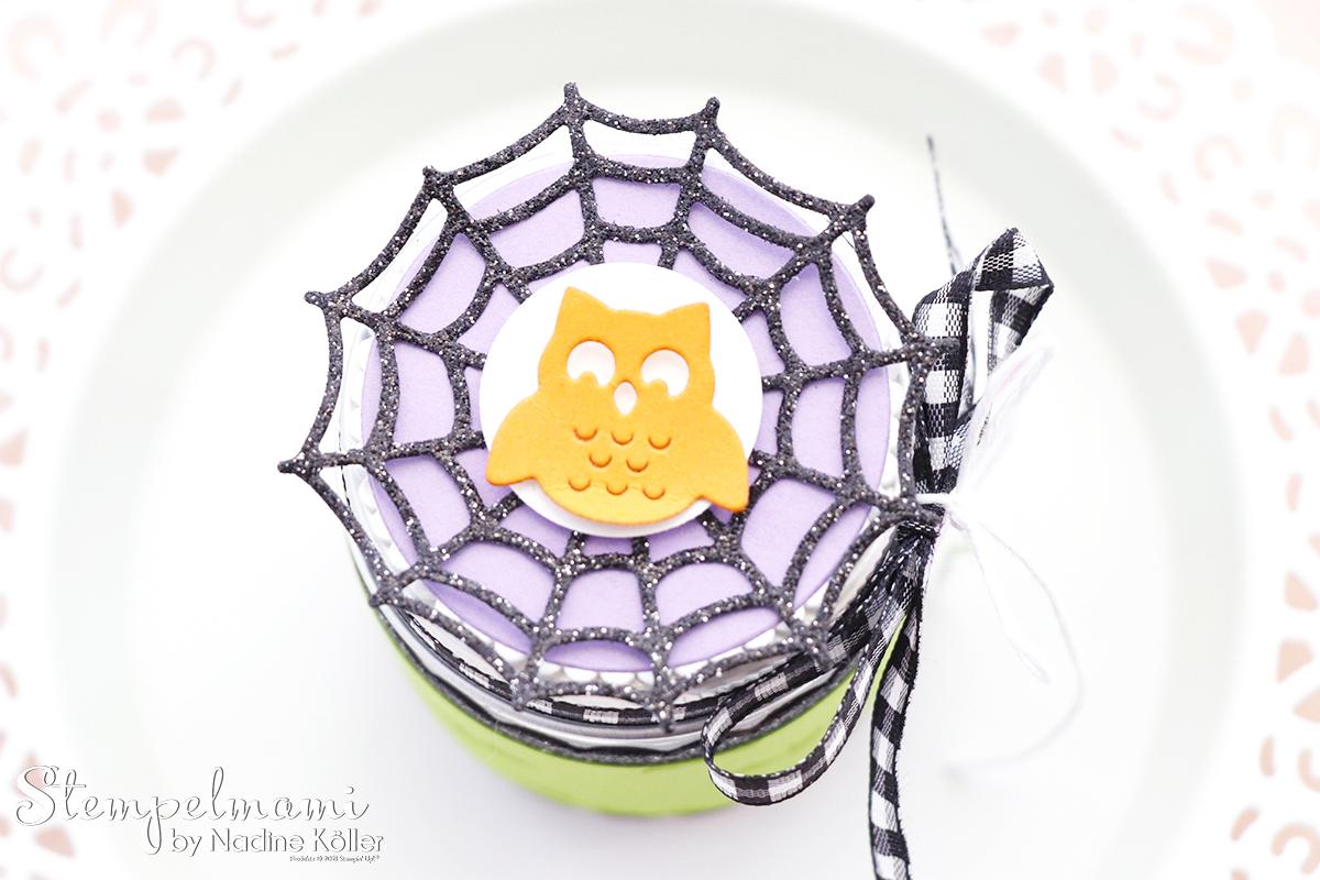Stampin Up Mini Marmeladenglas als Goodie zu Halloween Frightfully Cute Stempelmami 7