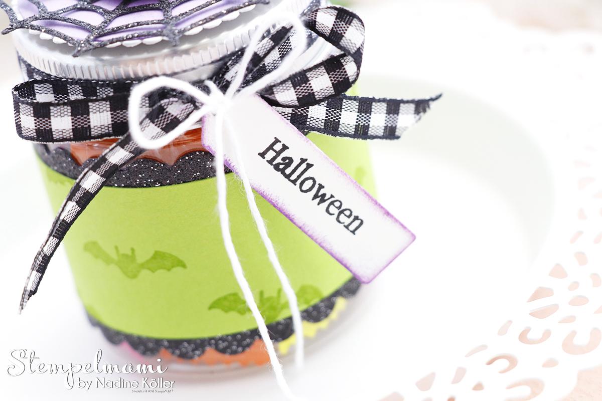 Stampin Up Mini Marmeladenglas als Goodie zu Hallween Frightfully Cute Stempelmami 6