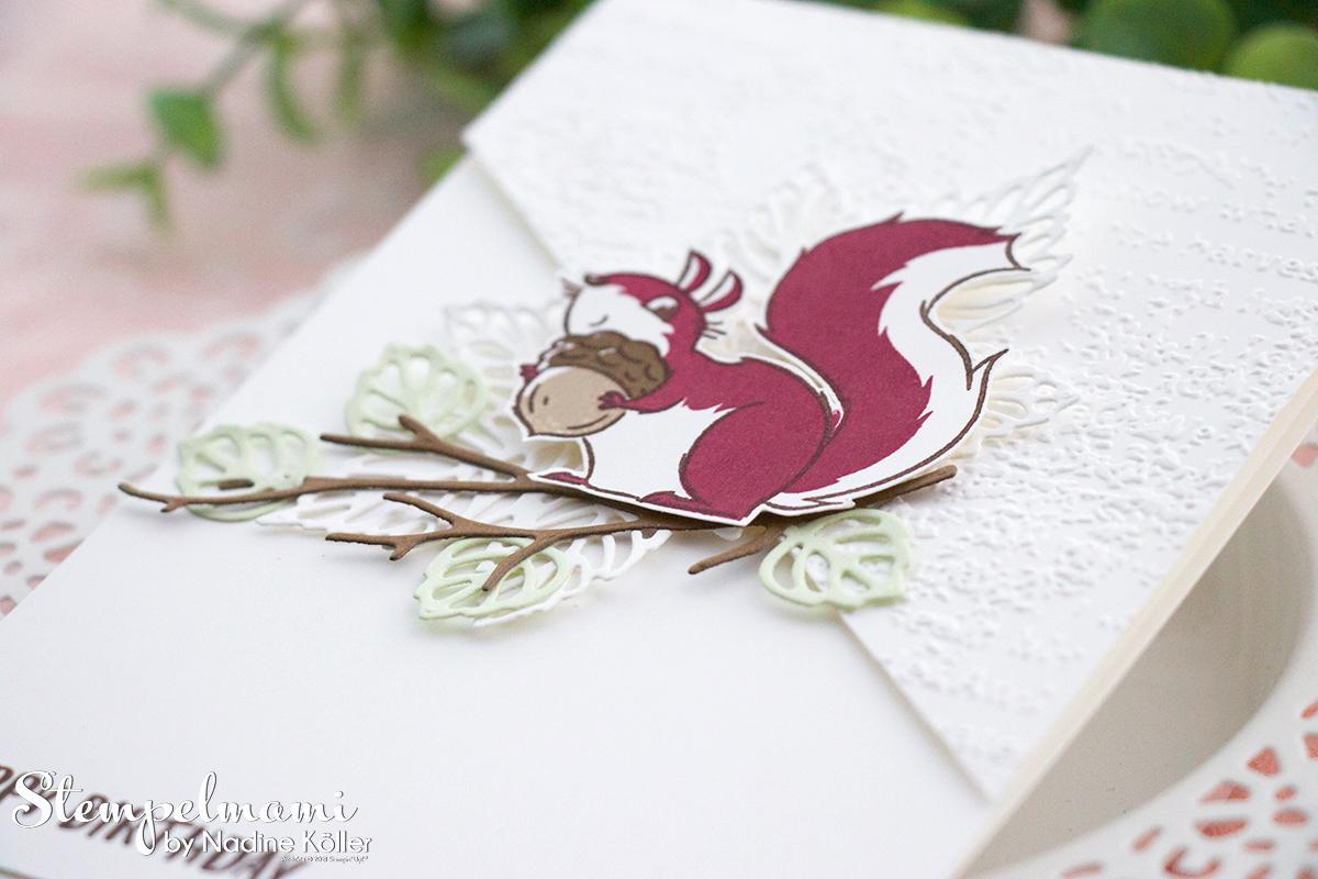 Stampin Up Geburtstagskarte mit Nuts about squirrels Stanzformen Blaetterfantasie Stempelmami 1