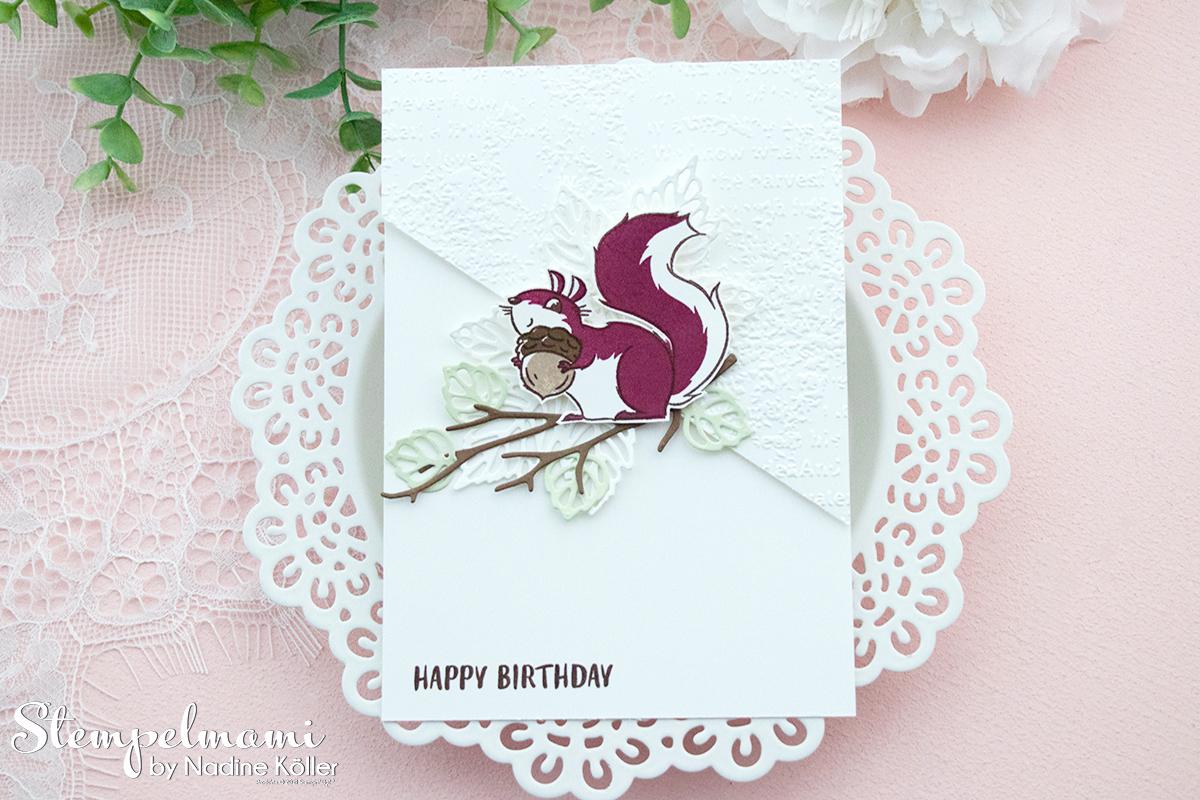 Stampin Up Geburtstagskarte mit Nuts about squirrels Stanzformen Blaetterfantasie Stempelmami 3
