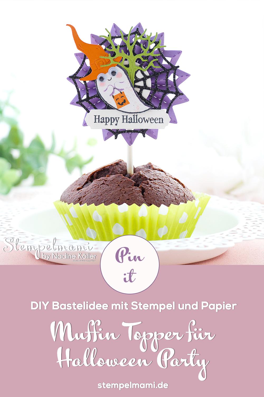 Stampin Up Muffin Topper fuer Halloween Party Mottoparty Halloween Kindergeburtstag Kuchen Topper Cake Topper Kuchenstecker Tortenstecker Produktpaket Frightfully Cute Stempelmami 5