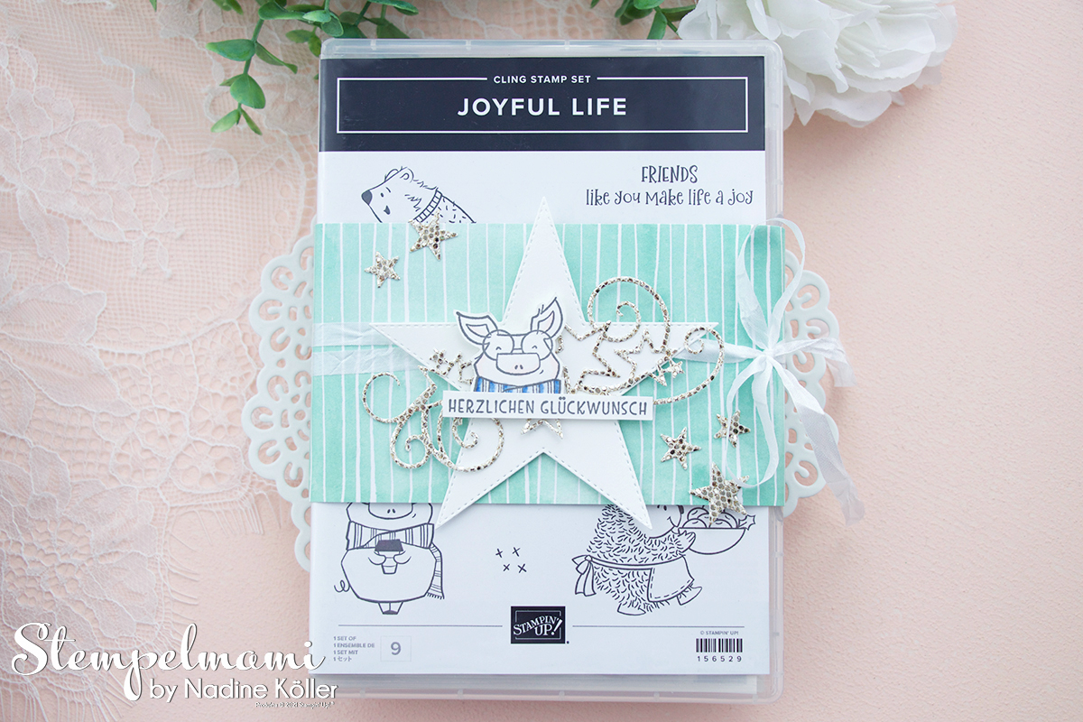 Stampin Up Video Anleitung Stempelset mit Verzierung als Geschenkidee Joyful Life Bestickte Sterne Stempelmami Youtube 2